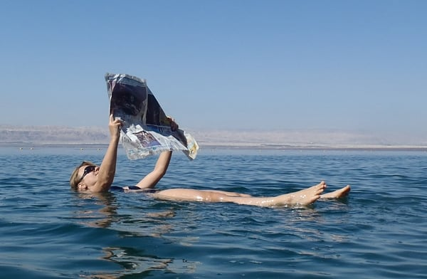 Abi floating in the Dead Sea