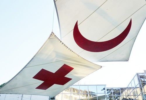 Red Cross & Crescent flags outside the museum in Geneva