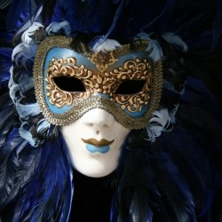 Venetian Mask - Striking of a deep blue traditional mask from Venice, Italy via @insidetravellab