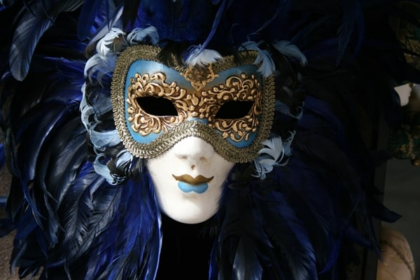 Venetian Mask - Striking Mask in Venice in Deep Blue and Gold