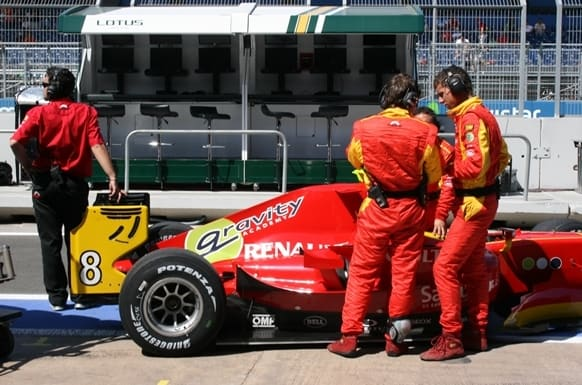 Inside the Pit Lane at the Valelncia Grand Prix - Two men & Car