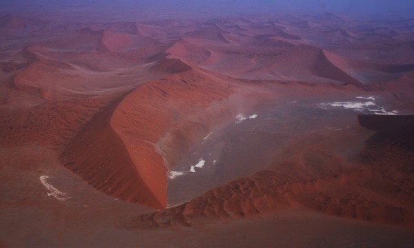 Namib Desert from the air - showing swirling sand dunes in Africa