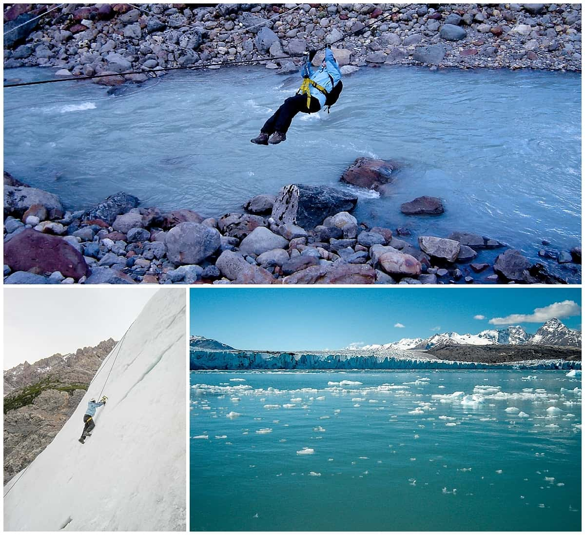 Ice climbing and trekking and crossing glacial streams in Patagonia
