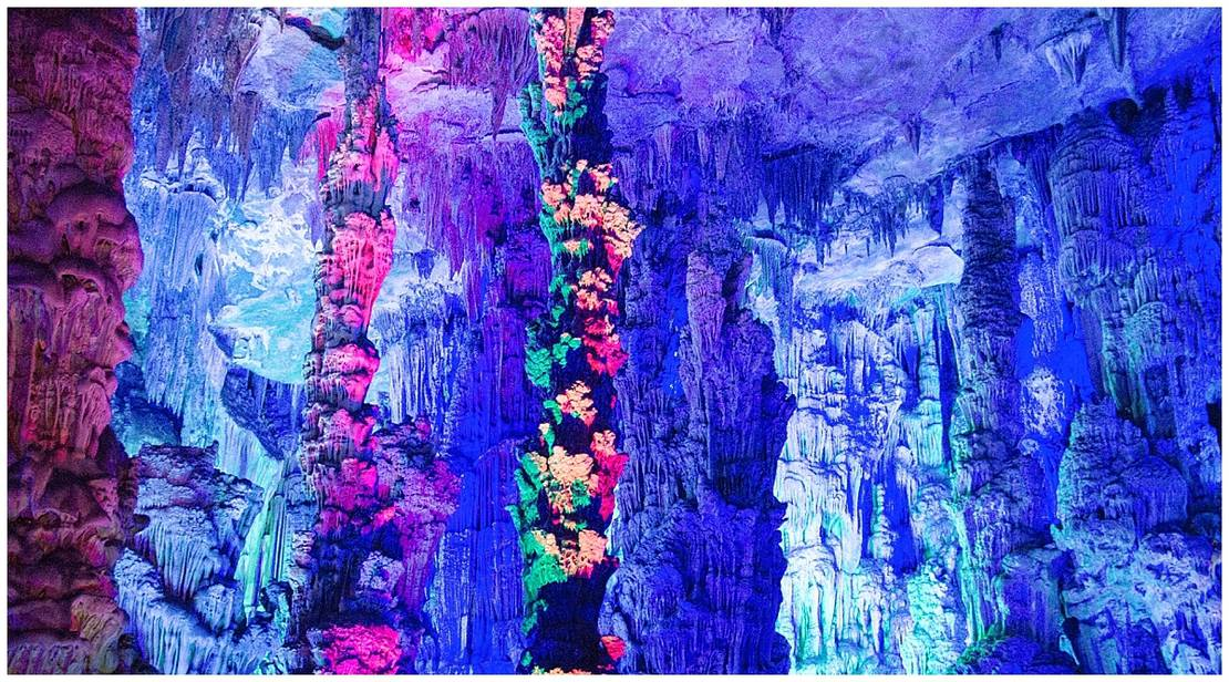 Purple and violet cave formations in Portugal