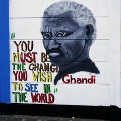 Ghandi - You must be the change you wish to see in the world - street art in Swakopmund, Namibia, Africa