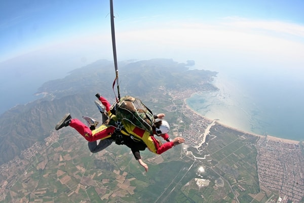 Tandem skydive showing the mediterranean coast