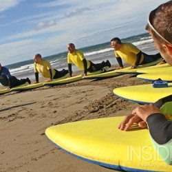 Surf lesson pose