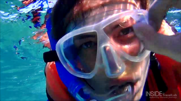 Abigail King in an underwater video