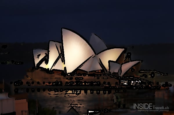 The Sydney Opera House At Night Cartoon