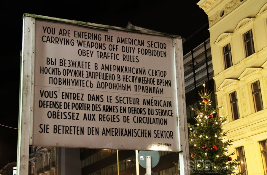 Germany Berlin Wall Checkpoint Charlie Signpost