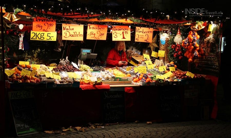 Veg stall at the Munich Christmas Market