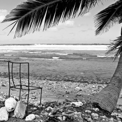 Barbados beach black and white with chair