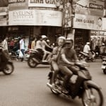 How to spend 3 days in Hanoi itinerary cover image mopeds in Vietnam