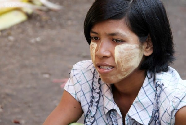 A woman wearing thanaka paste in Burma