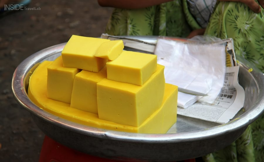 Yellow slabs in Rangoon market