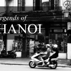 A motorbike zooms past in Hanoi