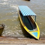 Blue and yellow boat in Brunei