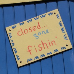 Closed gone fishing sign BVI