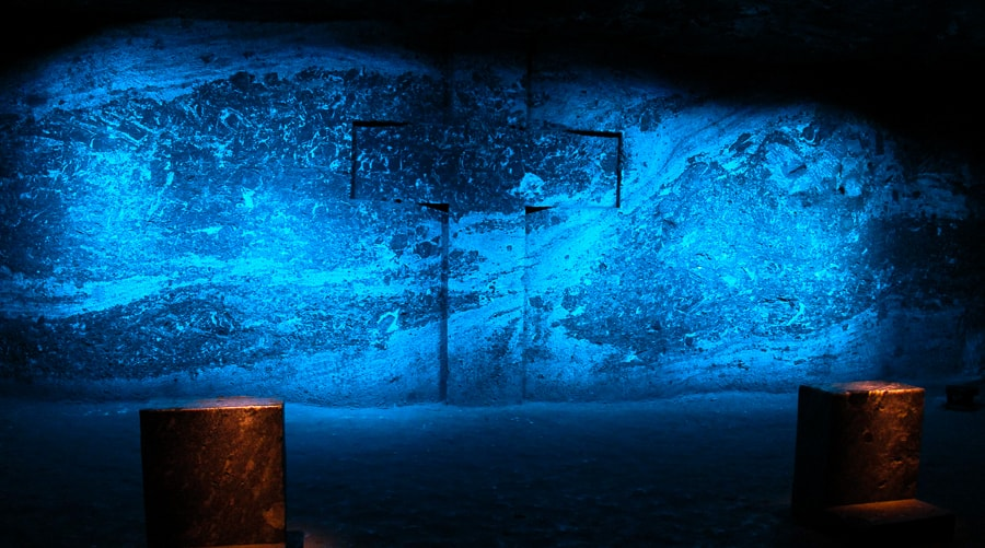 Swirling blue cross in the salt cathedral