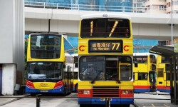Yellow bus in Hong Kong