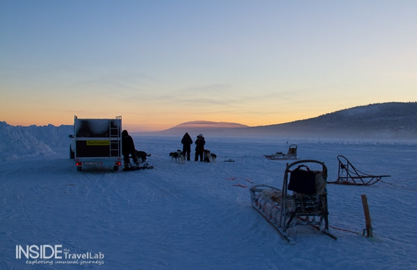 Sunset in Sweden with a husky sledge
