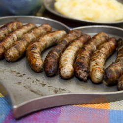 Nuremberg Sausages in heart shaped dish