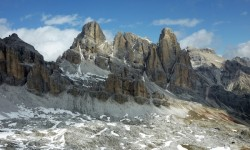 Snow swirling above the Dolomites in South Tyrol