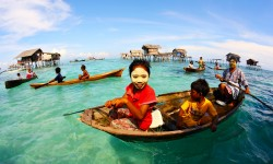 Children in boats in Sabah