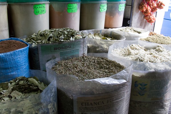 Sacks of herbs in Quito