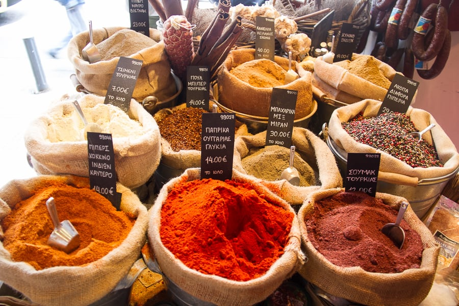 Spices in the Athens Food Markets