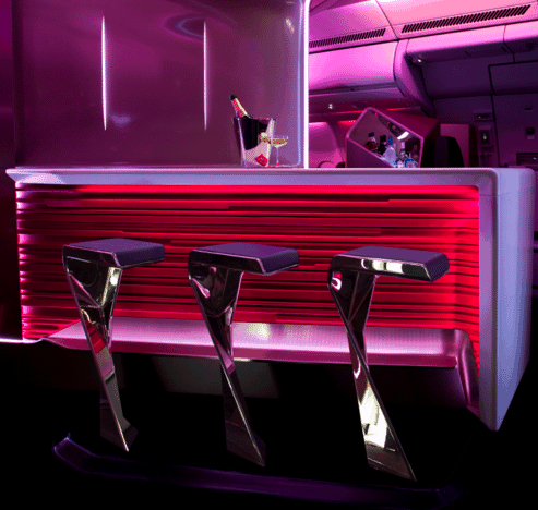 The bar in Virgin Atlantic Upper Suite