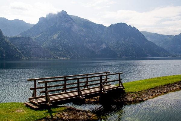 Lakeside bridge in Austria via @insidetravellab