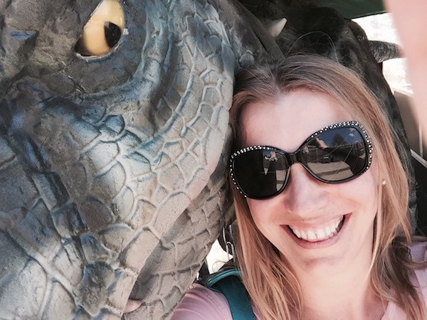 Abigail King with T Rex at Terra Botanica