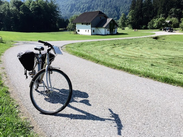 Cycling in Bad Ischl back on the road