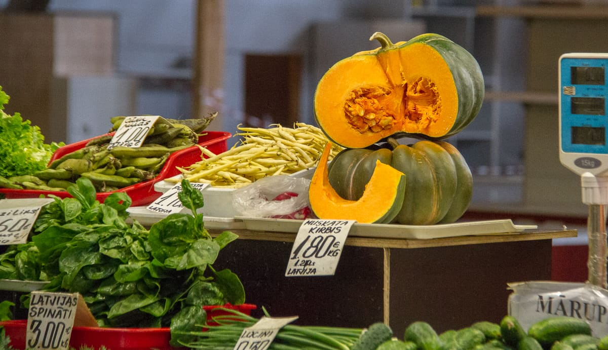 Pumpkins in the market in Riga in Latvia via @insidetravellab