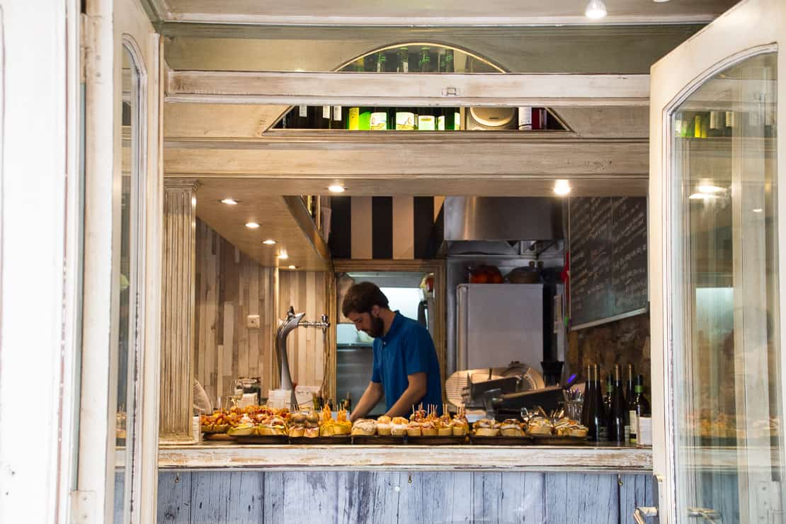 Tapas in San Sebastian - a tempting glimpse from the street