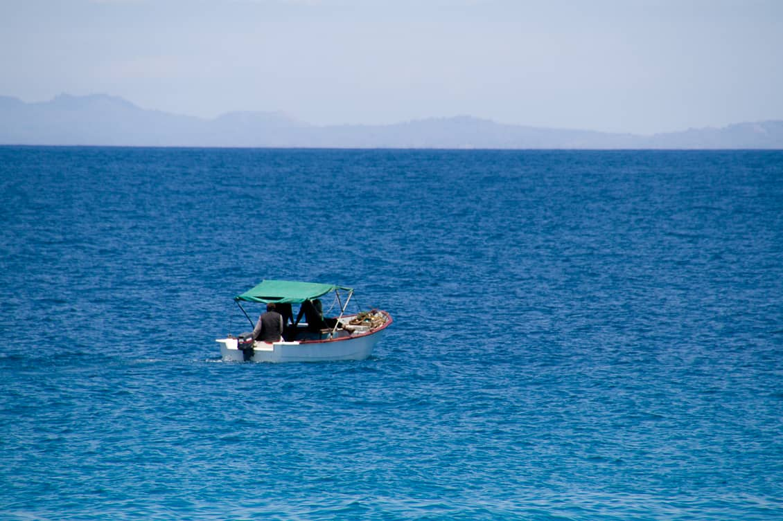 Madagascar Beach-boat on the open sea