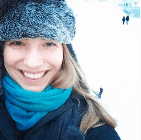 Abi in the snow in Finland