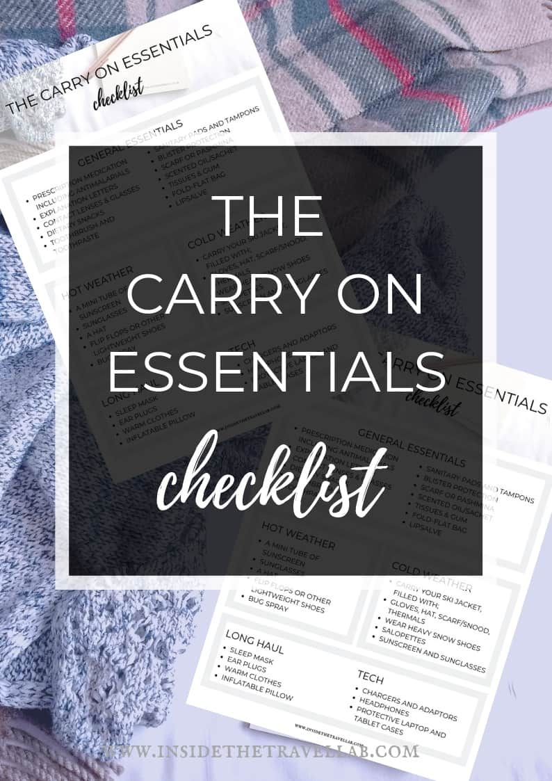 Free carry on essentials checklist complete with hot and cold weather tips and lists for men and women