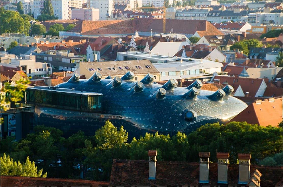 The Kunsthaus, or friendly alien, from above