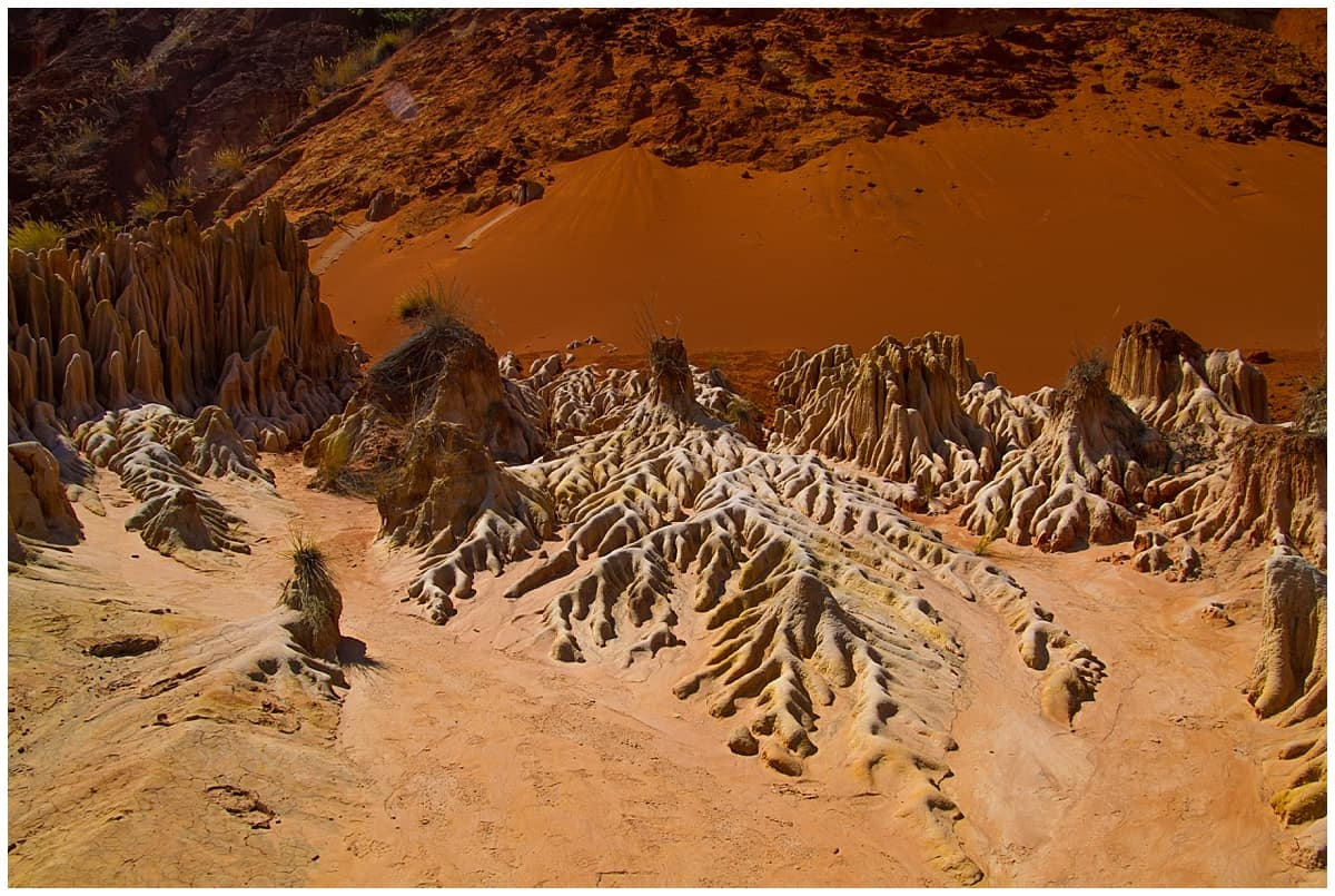Red tsingy rock formation Madagascar