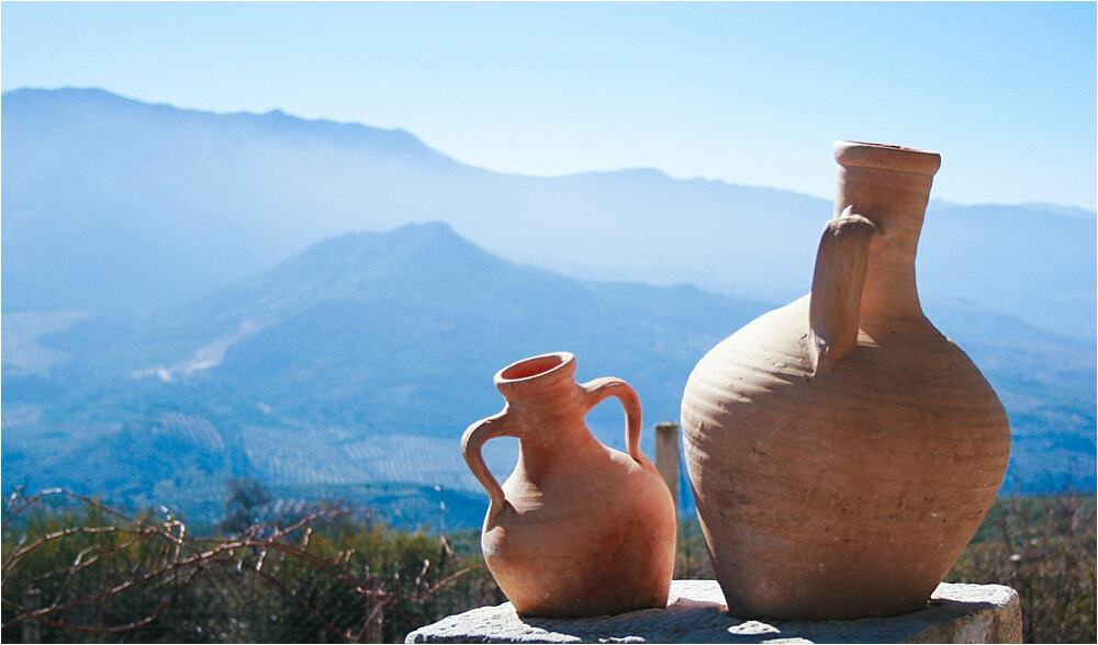 Pausing to admire the view en route to the olive harvest in Pegalajar Andalucia Spain