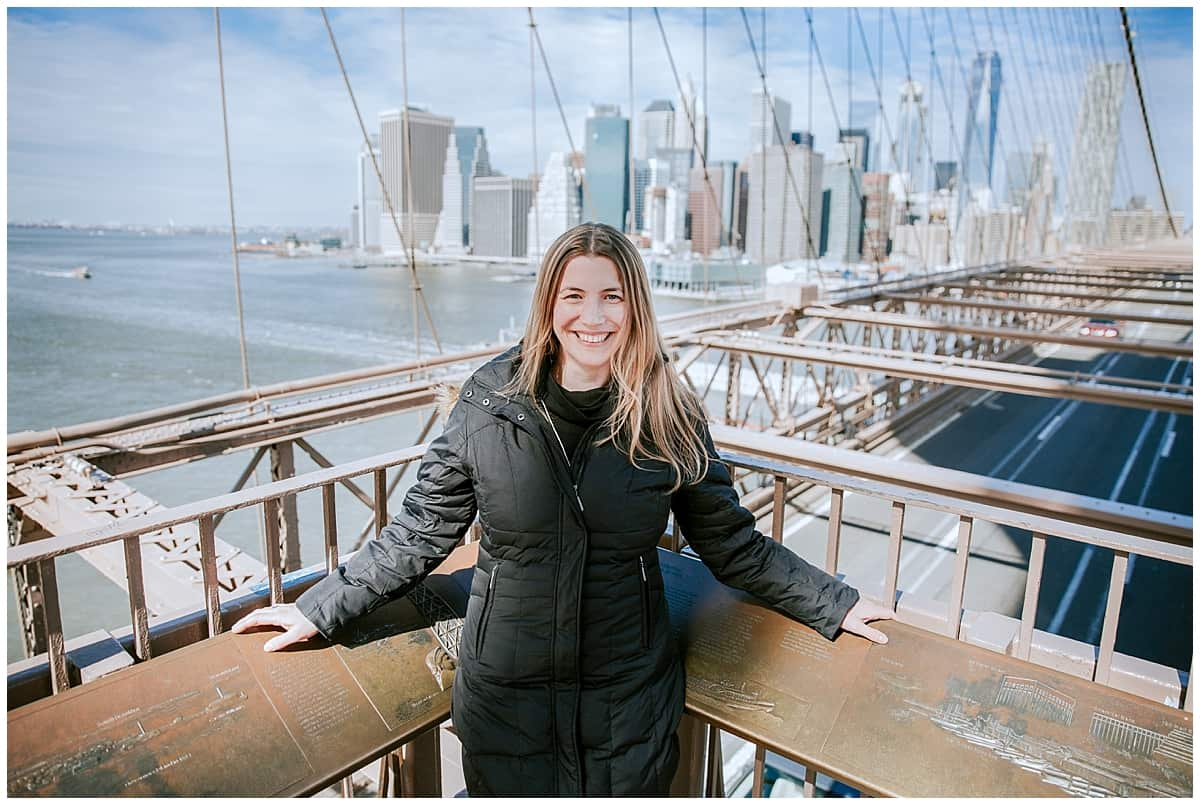 Abi on corner of Brooklyn Bridge