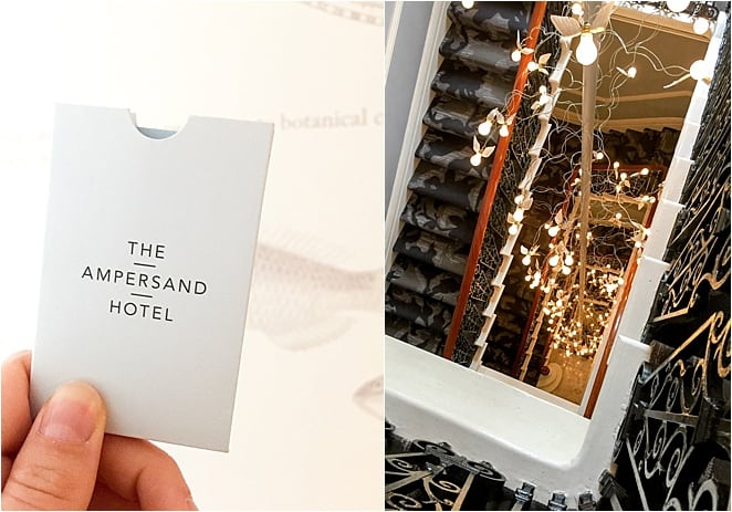 Checking in to the boutique Ampersand Hotel in London