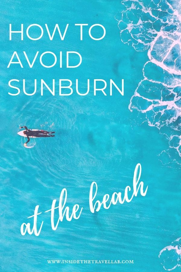 How to avoid sunburn at the beach - image with person swimming