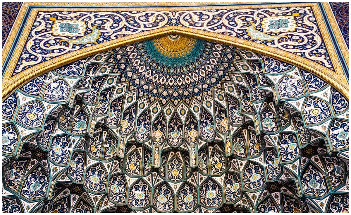 Stunning ceiling of the Grand Mosque in Muscat Oman