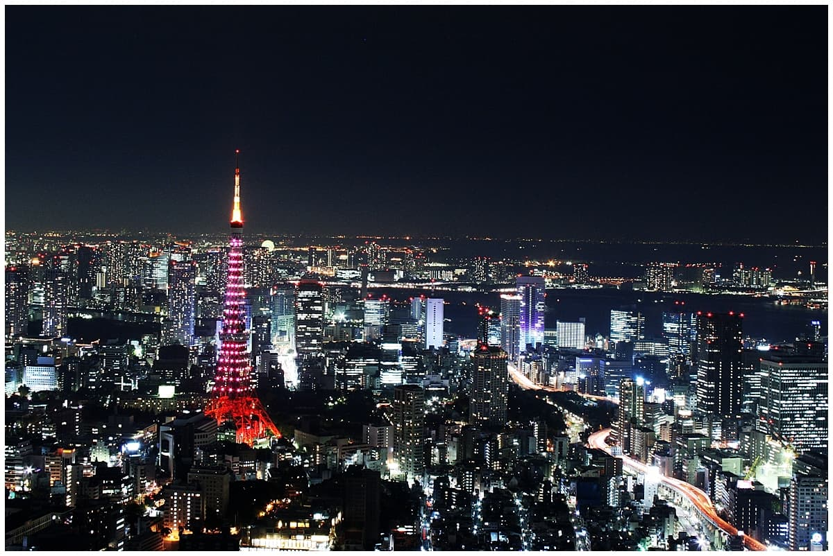 Japan - Tokyo - Night scene with red Tokyo tower