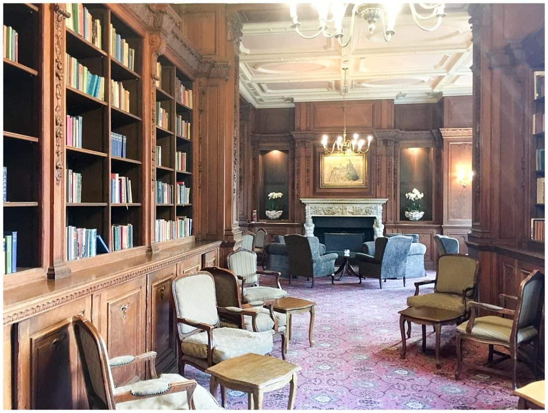 Inside the Library at Tylney Hall and Gardens Hampshire