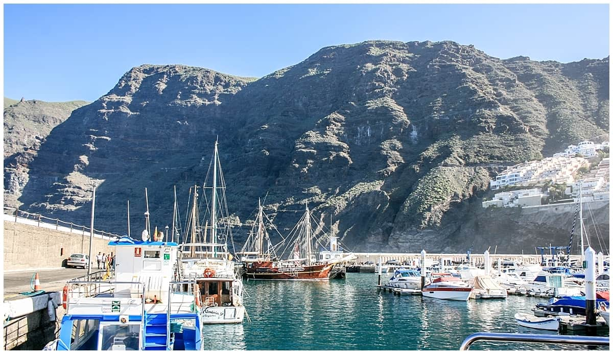 Whale watching boats at Los Gigantes in Tenerife