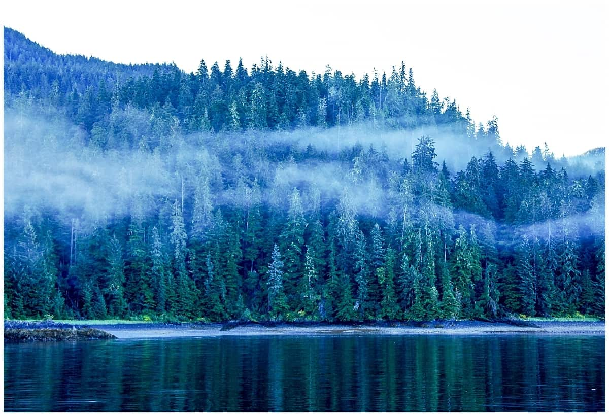 Still mist and water in a kayak in Alaska
